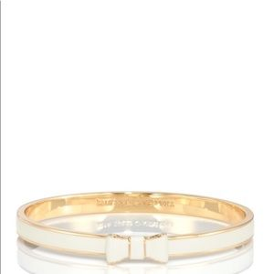 Kate spade bow bangle gold and white